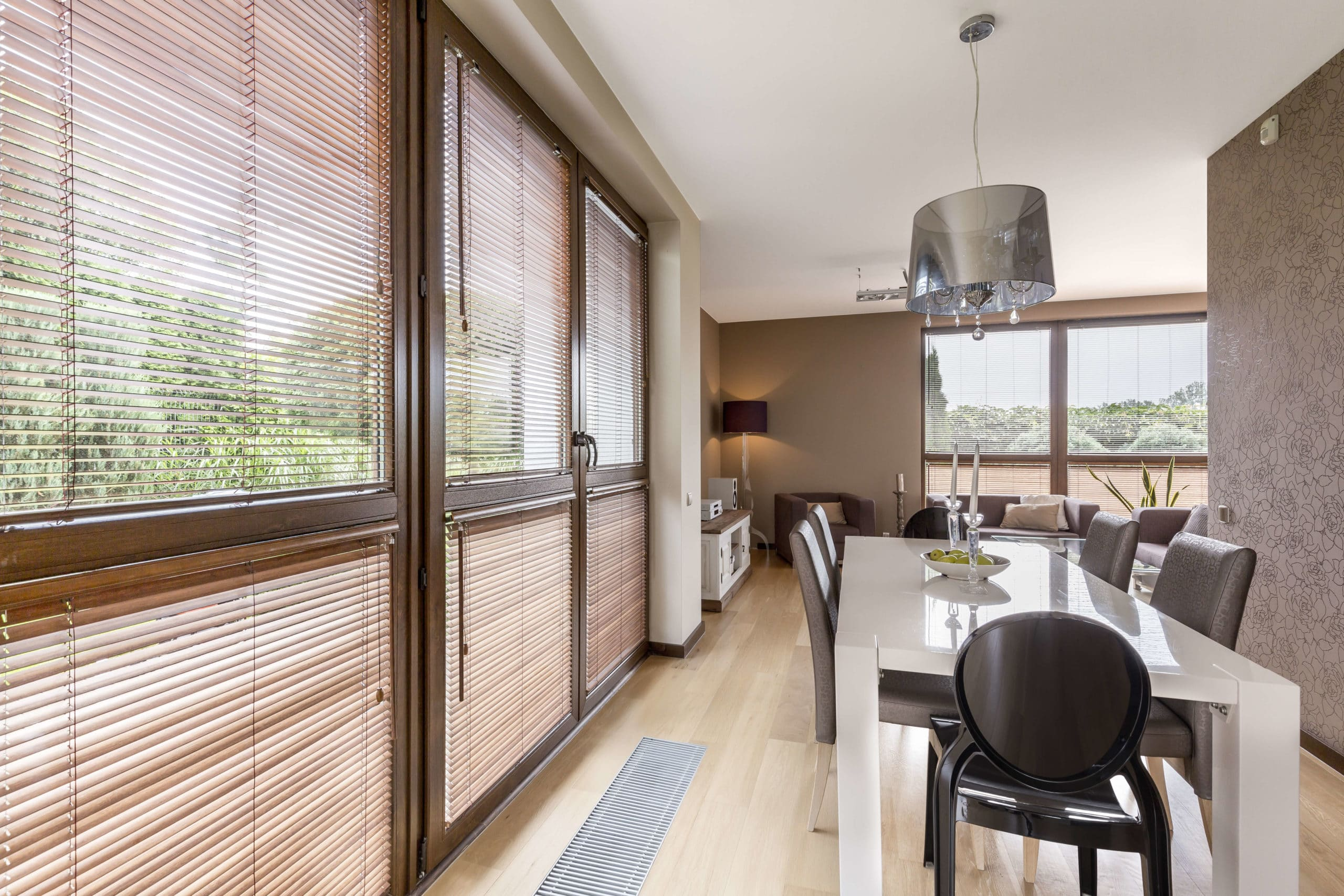 windows with dark or bronze trim in dining area of home