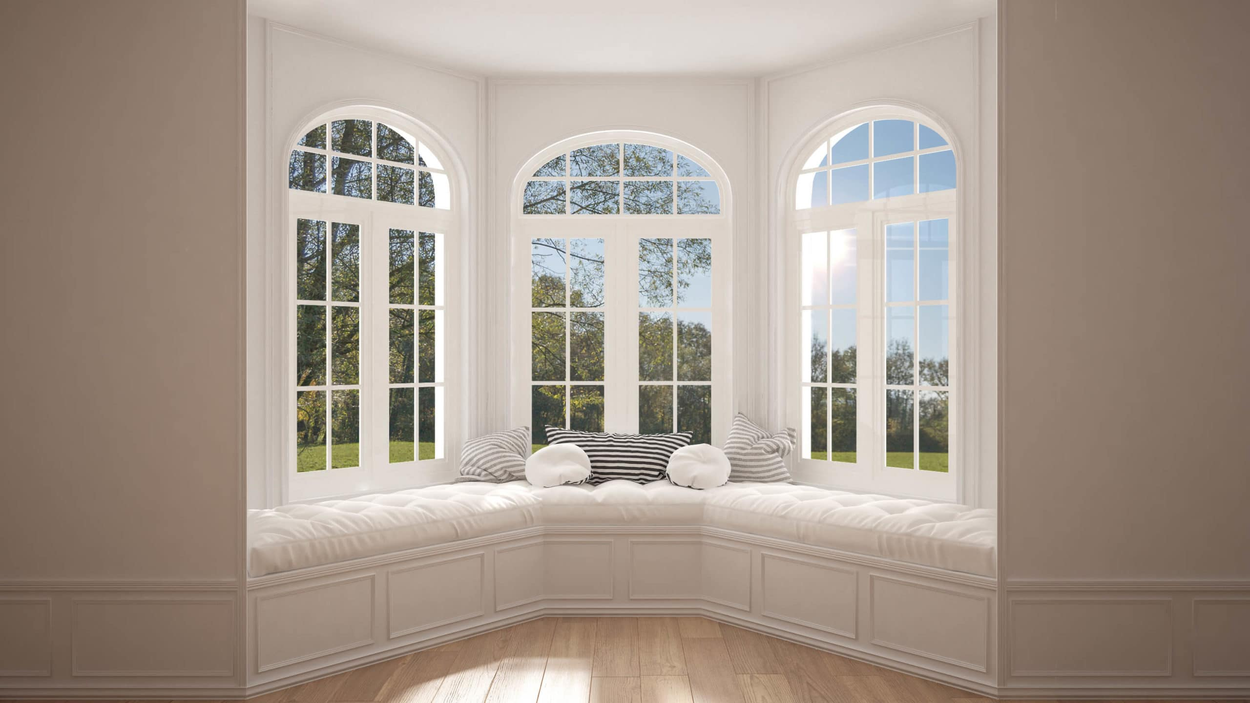 big bay windows in updated home