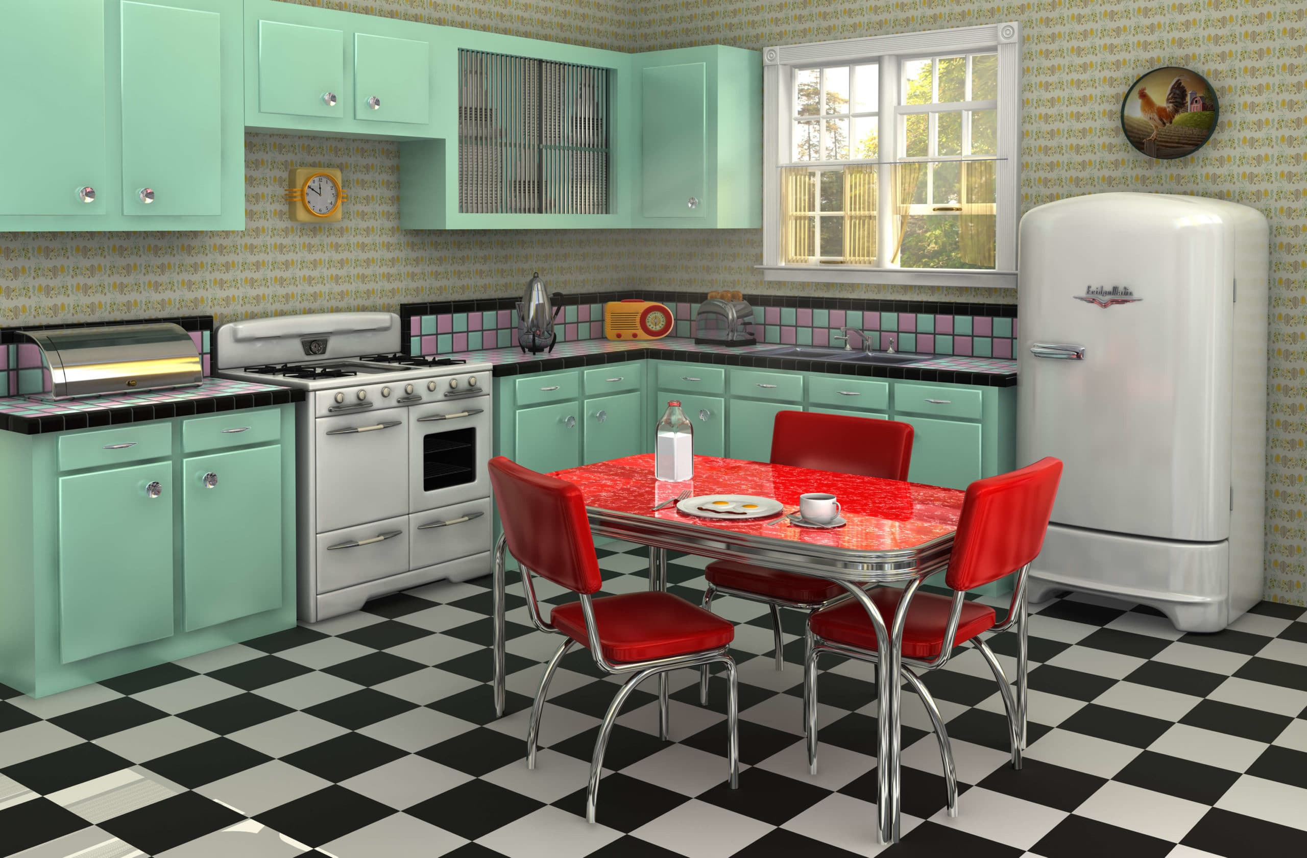 retro 50s kitchen with bright laminate countertops