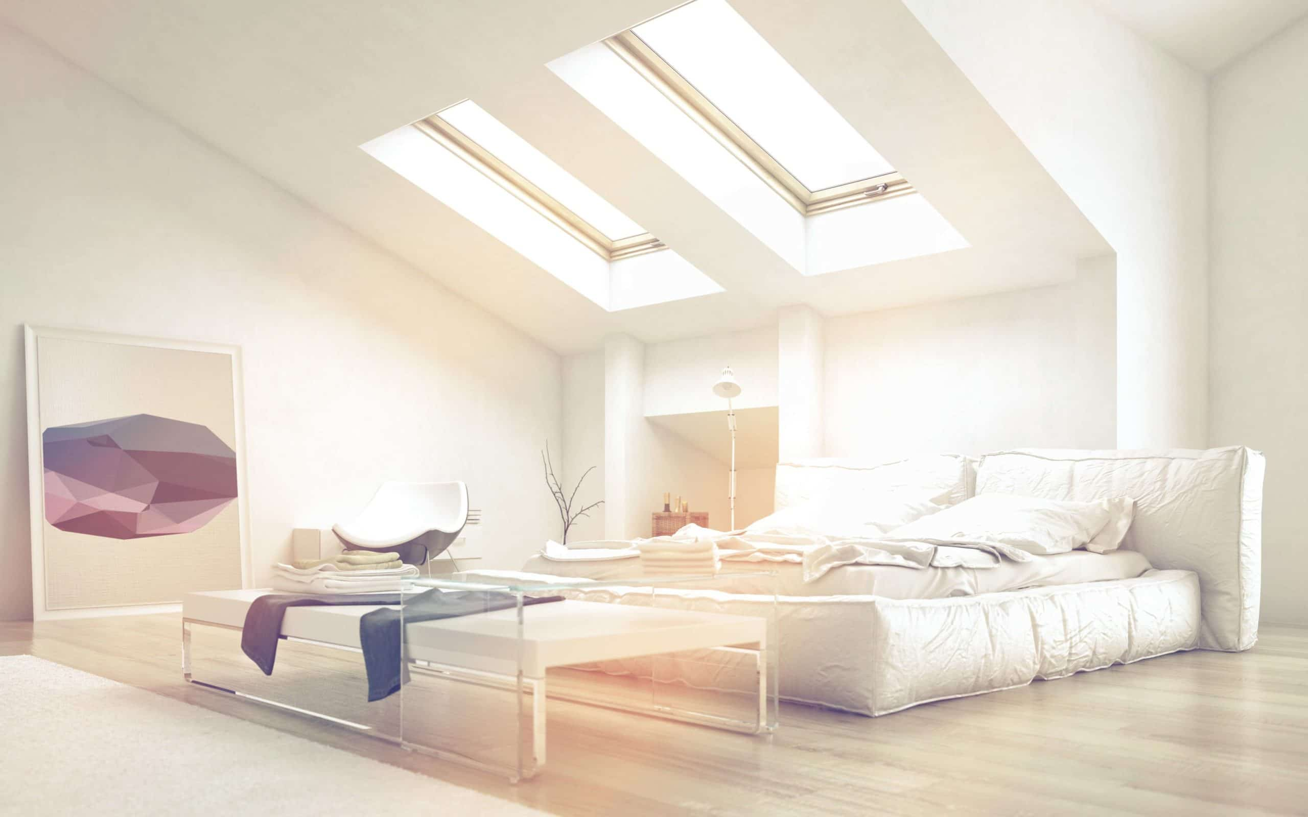Bedroom with dual skylights